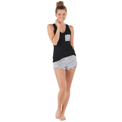 Nelly PJ Set - Black Brush Squares