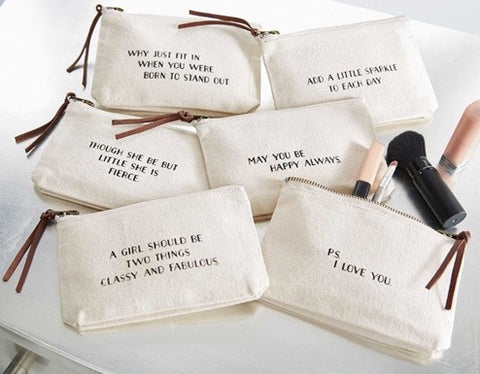 Inspirational Canvas Cosmetic Pouch