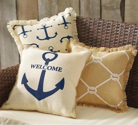 Printed Nautical Anchor Pillow