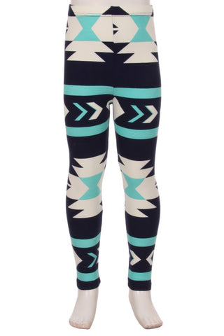 Youth Navy and Aqua Aztec Ankle Leggings