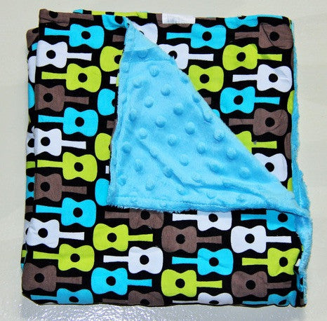 Boy Guitar Minky Blanket