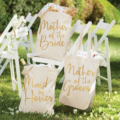 Bridal Wedding Totes for Mother of the Bride, Mother of the Groom and Maid of Honor