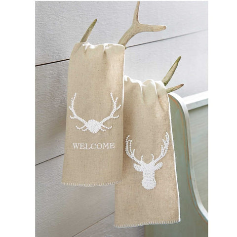 Deer Stag French Knot Towel