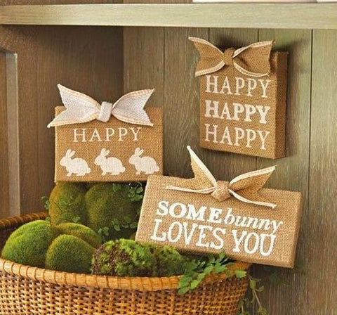 Burlap Easter Signs