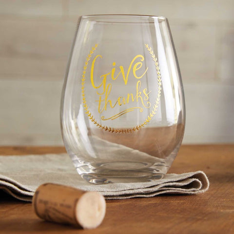 Give Thanks Stemless Wineglasses