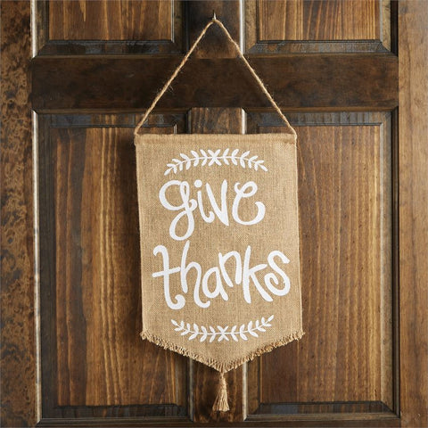 Give Thanks Burlap Flag