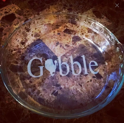 Gobble Etched Pie Plate