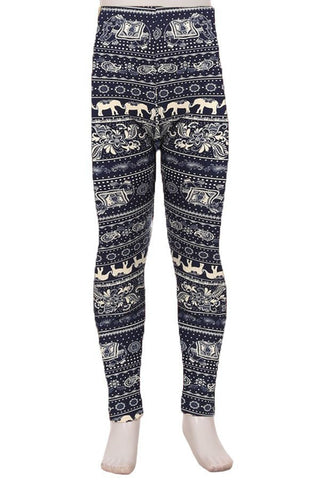 Youth Navy and Ivory Elephant Ankle Leggings