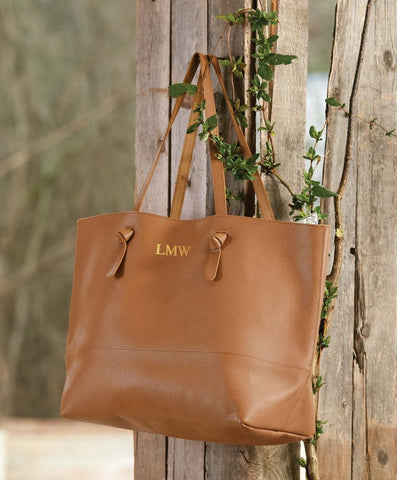 Miller Leather Tote in Tan