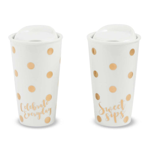 White and Gold Travel Mugs