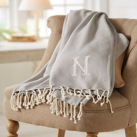 Herringbone Initial Throw Blanket