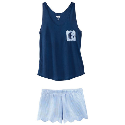 Navy and Blue Tank and Boxer Short Pajama Set