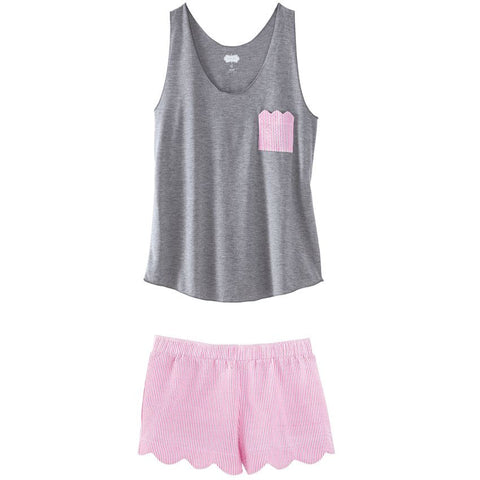 Pink and Gray Tank and Boxer Short Pajama Set