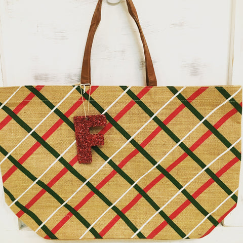 Plaid Christmas Tote w/ Sequin Initial Ornament