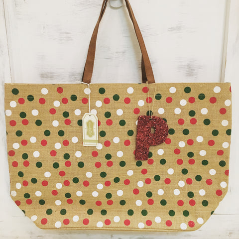 Polka Dot Christmas Tote w/ Sequin Initial Ornament