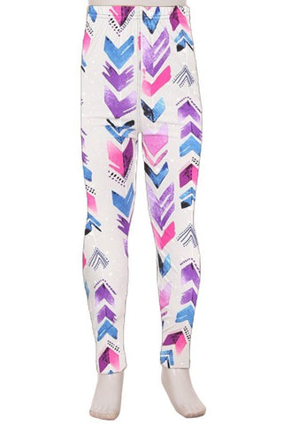 "Youth ""Water Color Chevron"" Ankle Leggings"