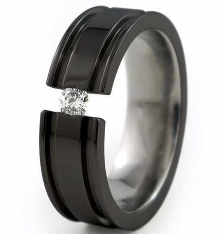 Men's Diamond Titanium Ring Abyss Black