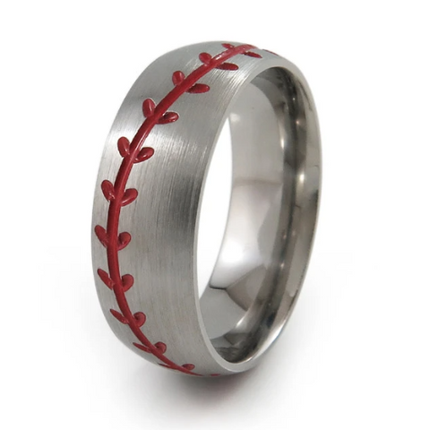 Baseball-inspired Titanium Ring