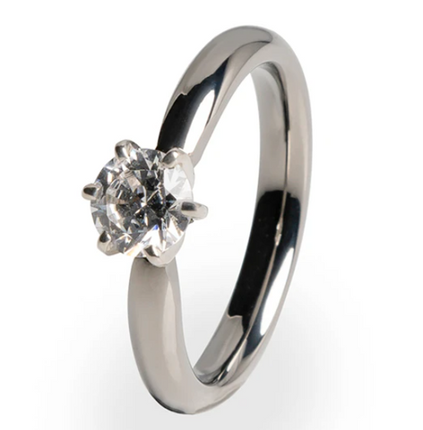 Titanium and white gold prong setting titanium ring with 5mm diamond