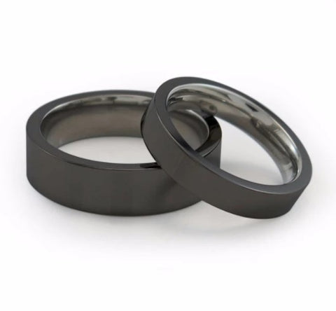 Facia Black Stackable Rings in two widths