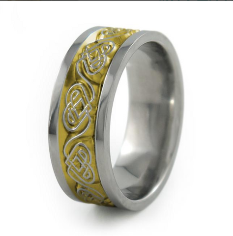 Guinevere Titanium Ring Anodized Gold