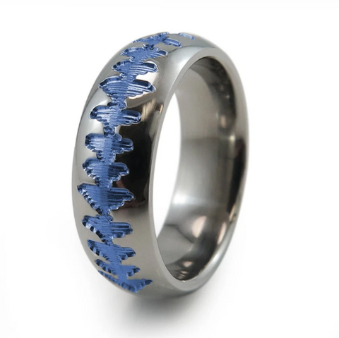 Heartbeat Titanium Ring Anodizing Blue