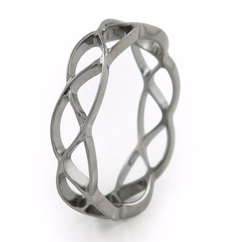 Titanium Ring made from looping infinity symbols