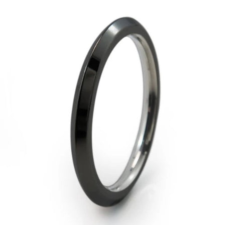 Pyramid Stackable Ring in Black Finish