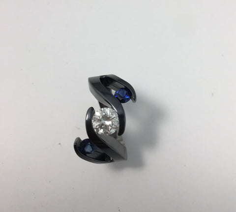 Black Meghan design with Sapphire Titanium Ring and diamond centre