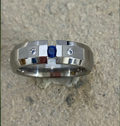 Mens Sapphire Titanium ring with two diamonds inset