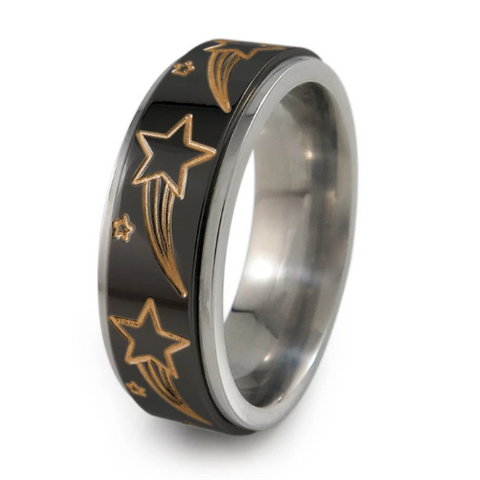 Fidget Spinner Shooting Stars Titanium Ring with Rose Gold Anodizing Colour