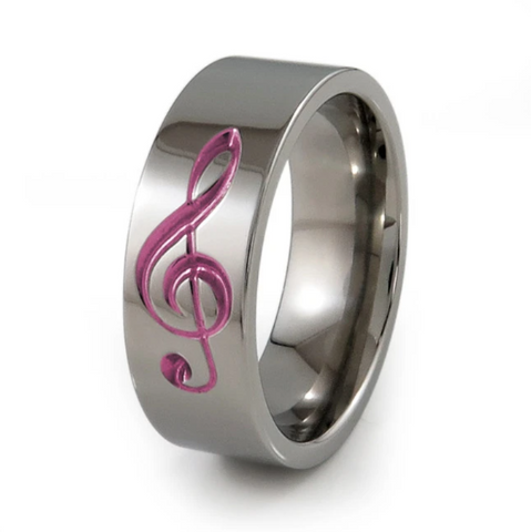 Treble Clef Titanium Ring