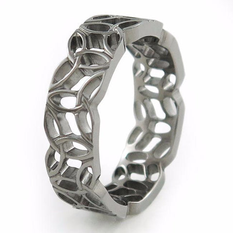 Silver Titanium Ring made from intertwined Trinity Symbols