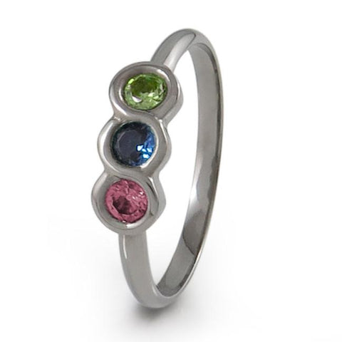 The Family Titanium Ring with Three Gemstones in an interlocking configuration reminiscent of the infinity symbol