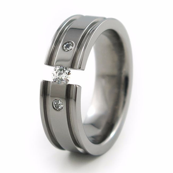 Mens comfort fit titanium wedding band with diamond inset  abyss ring