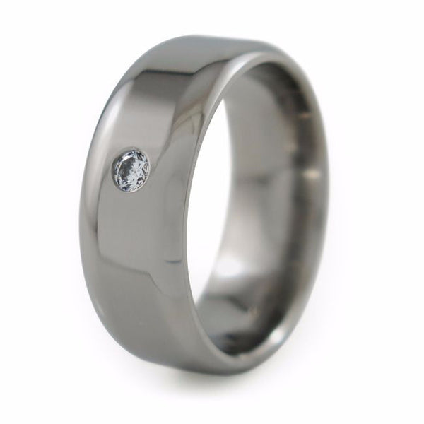 Contour single gemstone titanium band