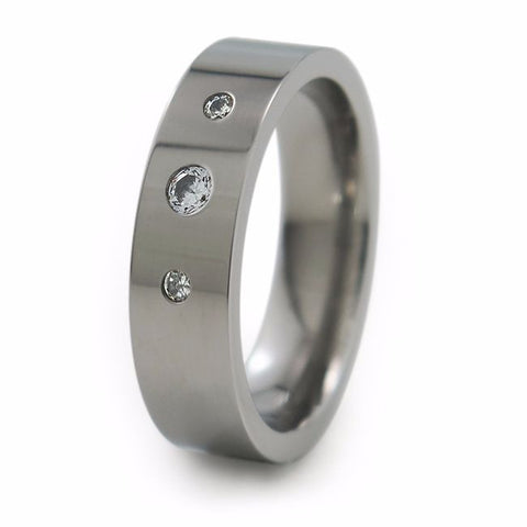 Facia | Diamond Past-Present-Future Titanium Ring
