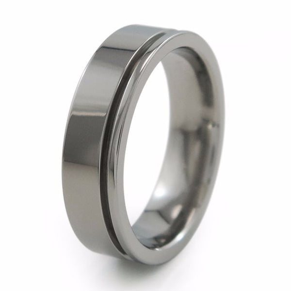 Mens titanium wedding band with inset grove.  Can be anodized with color. Comfort fit ring