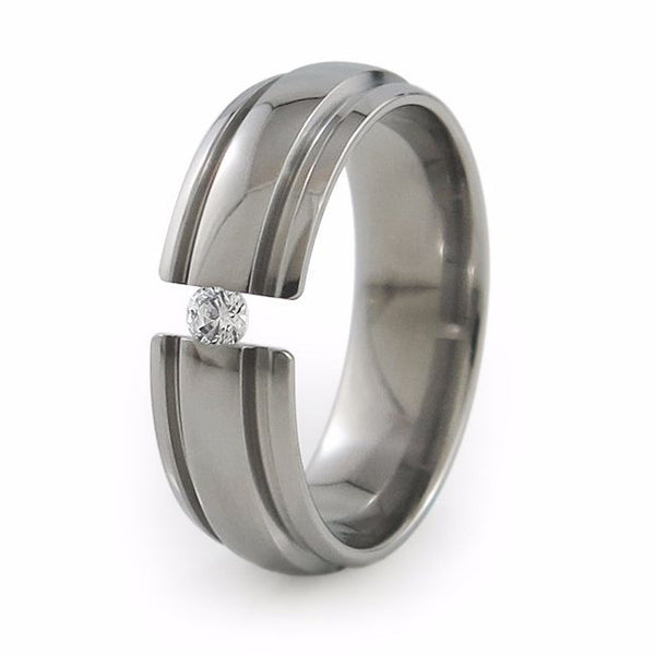 Mens Diamond or Sapphire or other gemstone titanium wedding band. The stone is tension set.