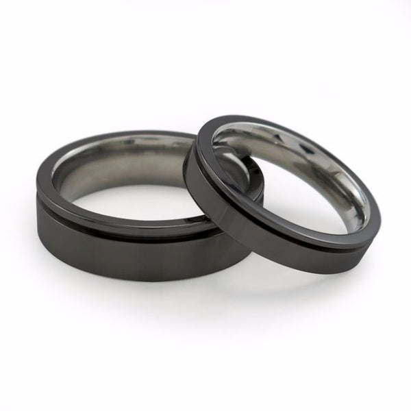 Mens black titanium ring. Titanium wedding band with inset grove.  Can be anodized with color. Comfort fit ring