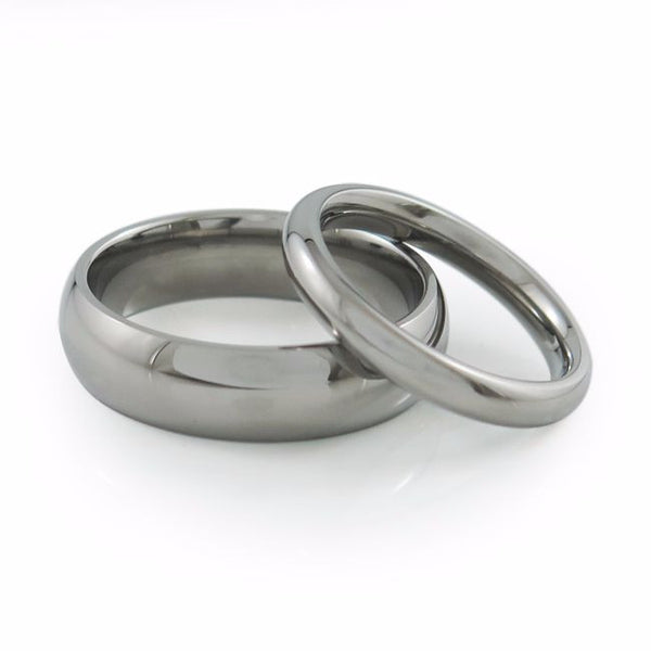 mens and ladies matching comfort fit titanium wedding bands