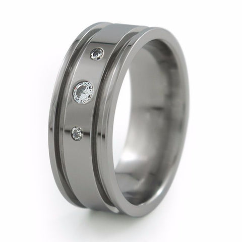 Abyss | Diamond Inset Past-Present-Future Titanium Ring