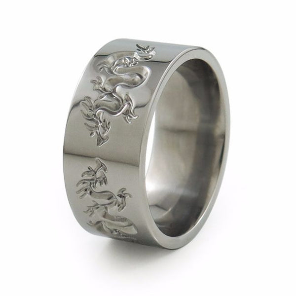 Liung Titanium ring with an Asian spin. Beautiful, ornate serpentine dragons are carved around the surface,