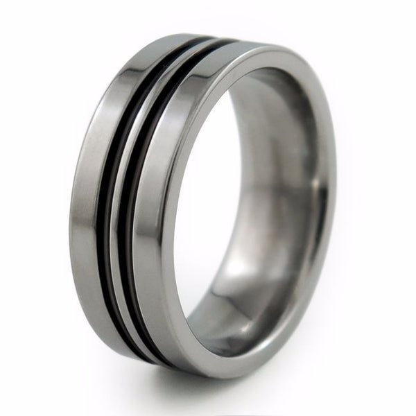 Titanium Ring with color, anodized or enamelled.