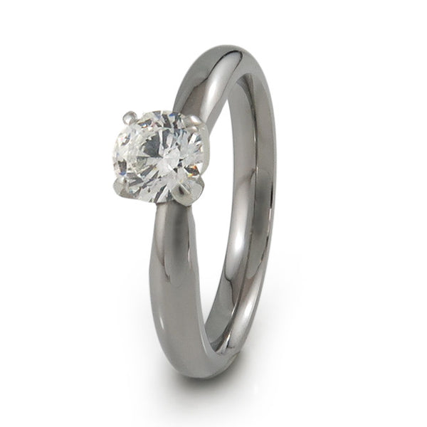 Diamond titanium engagement ring with white gold setting