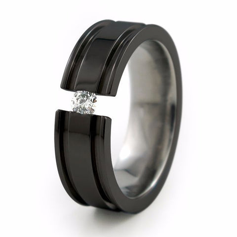 Abyss | Black | Diamond Tension Titanium Ring