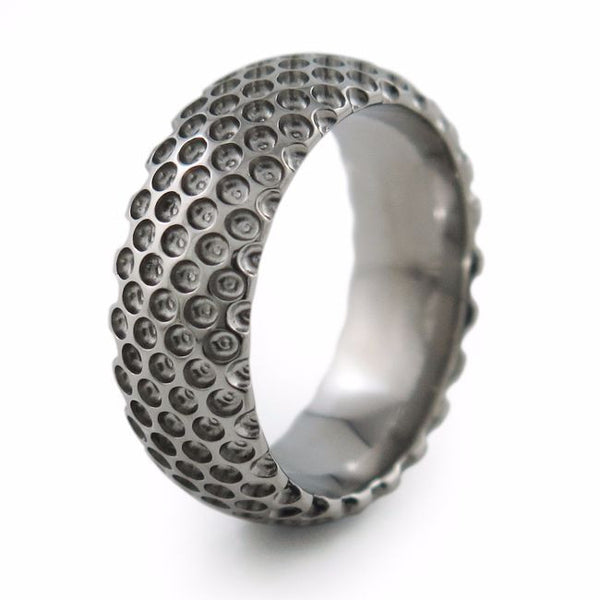 Golfer Titanium Ring. Designed with the golfer in mind. Hand crafted with golf ball holes.