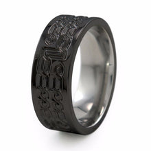 Galahad Black Diamond Coated Titanium ring is a carved dual celtic knot design