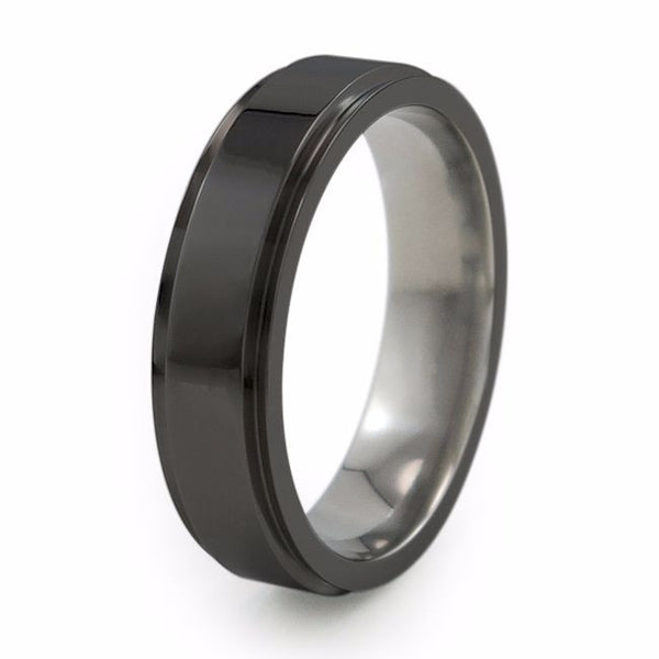 Japanese Samurai Black titanium wedding band.