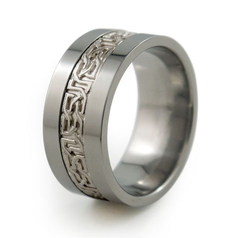 Camelot Titanium Ring with Precious Inlay